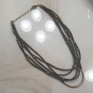 Faux leather and bead necklace